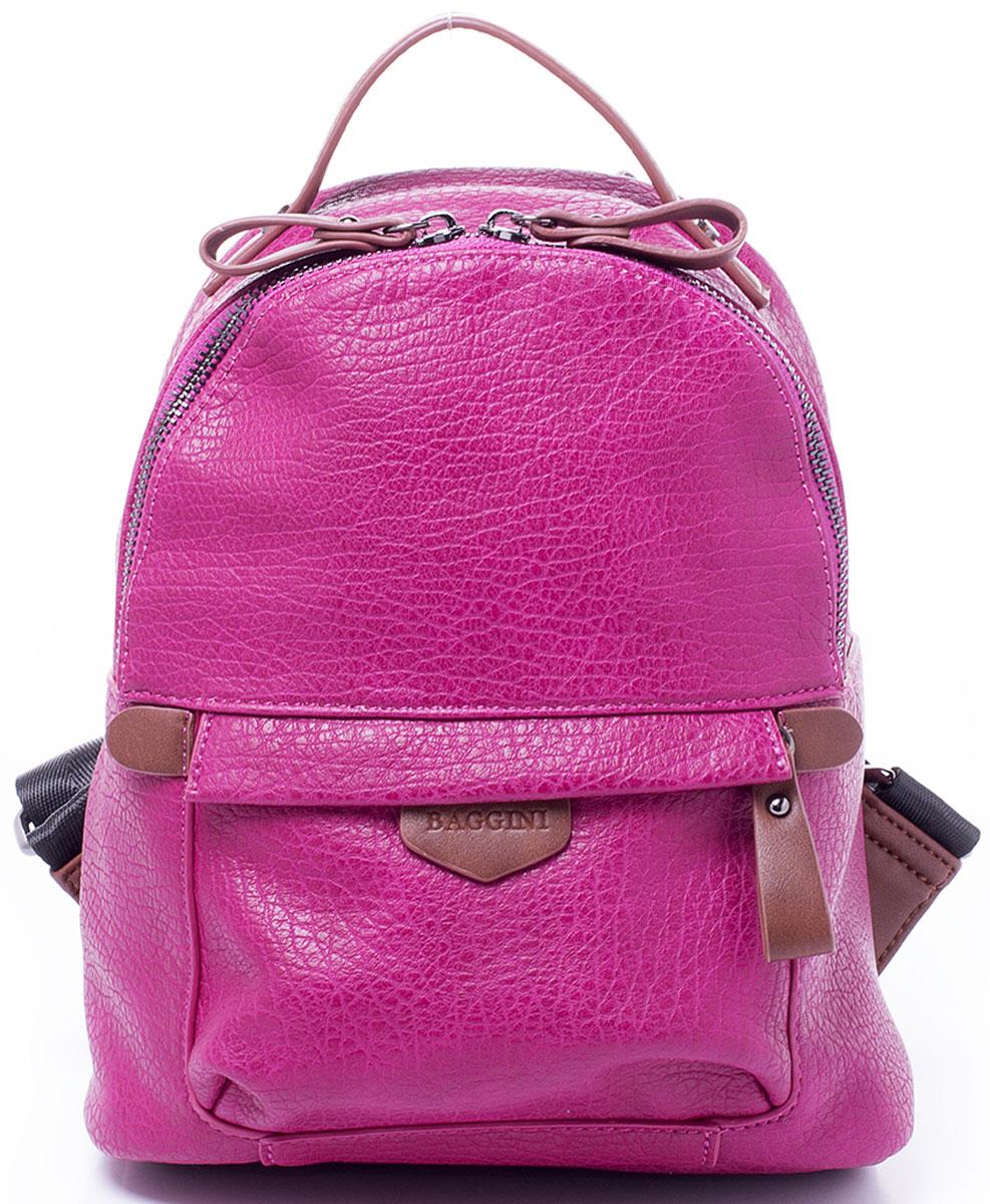 Рюкзак женский Baggini, цвет: фуксия. 29868/64S76245Компактный рюкзак Baggini подойдет как для создания романтичного и непринужденного образа, так и для функциональных потребностей к изделию. Рюкзак, несмотря на свои габариты, оснащен множеством карманов: один на застежке-молнии снаружи спереди, еще один, так же на молнии, сзади, четыре кармана внутри отделения - накладной для телефона, карман-разделитель на молнии, формирующий позади себя еще один карман и прорезной карман на застежке-молнии. Рюкзак оснащен широкими регулируемыми наплечными лямками и ручкой сверху для удобной переноски. Главное отделение застегивается на молнию. Изделие исполнено из экокожи.