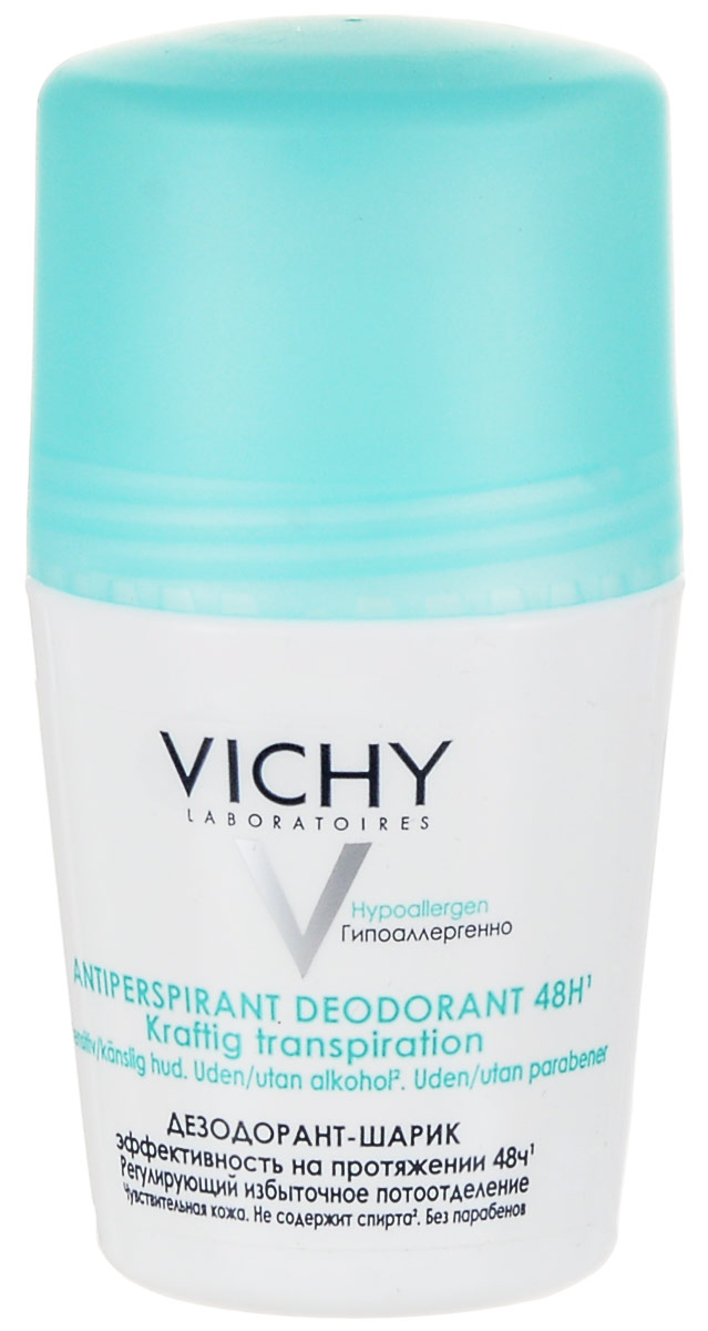 Vichy Дезодорант шариковый, регулирующий избыточное потоотделение, 50 млSatin Hair 7 BR730MNОщущение комфорта, здоровая и чистая кожа в течение 48 часов. Эффективность в течение 48 часов. Каждую последующую неделю применения потоотделение постепенно нормализуется. Не содержит спирта.