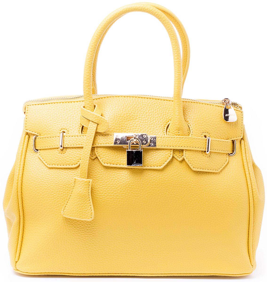 Сумка женская Kordia, цвет: желтый. 916-8182/8271069с-2Классическая сумка Kordia исполнена из высококачественной экокожи и имеет одно большое отделение на застежке-молнии. Внутри отделения находятся два накладных кармана для мелочей и под сотовый телефон и один прорезной карман на застежке-молнии. Снаружи, на задней стенке сумки, так же находится прорезной карман на молнии. Сумка обладает двумя удобными ручками для переноски и отстегивающимся регулируемым наплечным ремнем, который пристегивается на карабинах к кольцам на задней стенке сумки. Днище сумки защищено от протирания фурнитурными пуклями. Ремень прилагается к сумке.