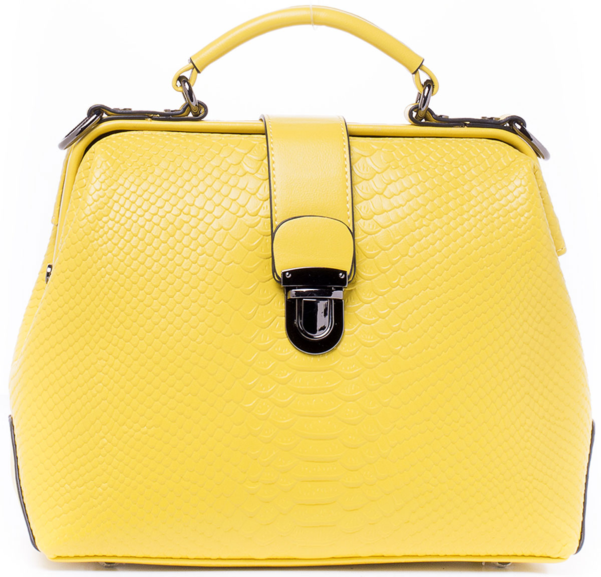 Сумка женская Kordia, цвет: желтый. 937-8702/82L39845800Кокетливая сумочка Kordia исполнена из высококачественной экокожи. Имеет одно главное отделение, закрывающееся на рамочный замок. внутри отделения находятся: карман-разделитель на молнии, который разграничивает отделение на две части. два накладных кармашка для сотового телефона или мелочей, один прорезной карман на застежке-молнии. Снаружи, на задней стенке сумки, так же имеется карман на молнии для быстрого доступа к часто используемым вещам. Днище сумки защищено от протирания фурнитурными пуклями. Изделие имеет удобную ручку для переноски и пристегивающийся регулируемый наплечный ремень. Ремень прилагается к сумке.