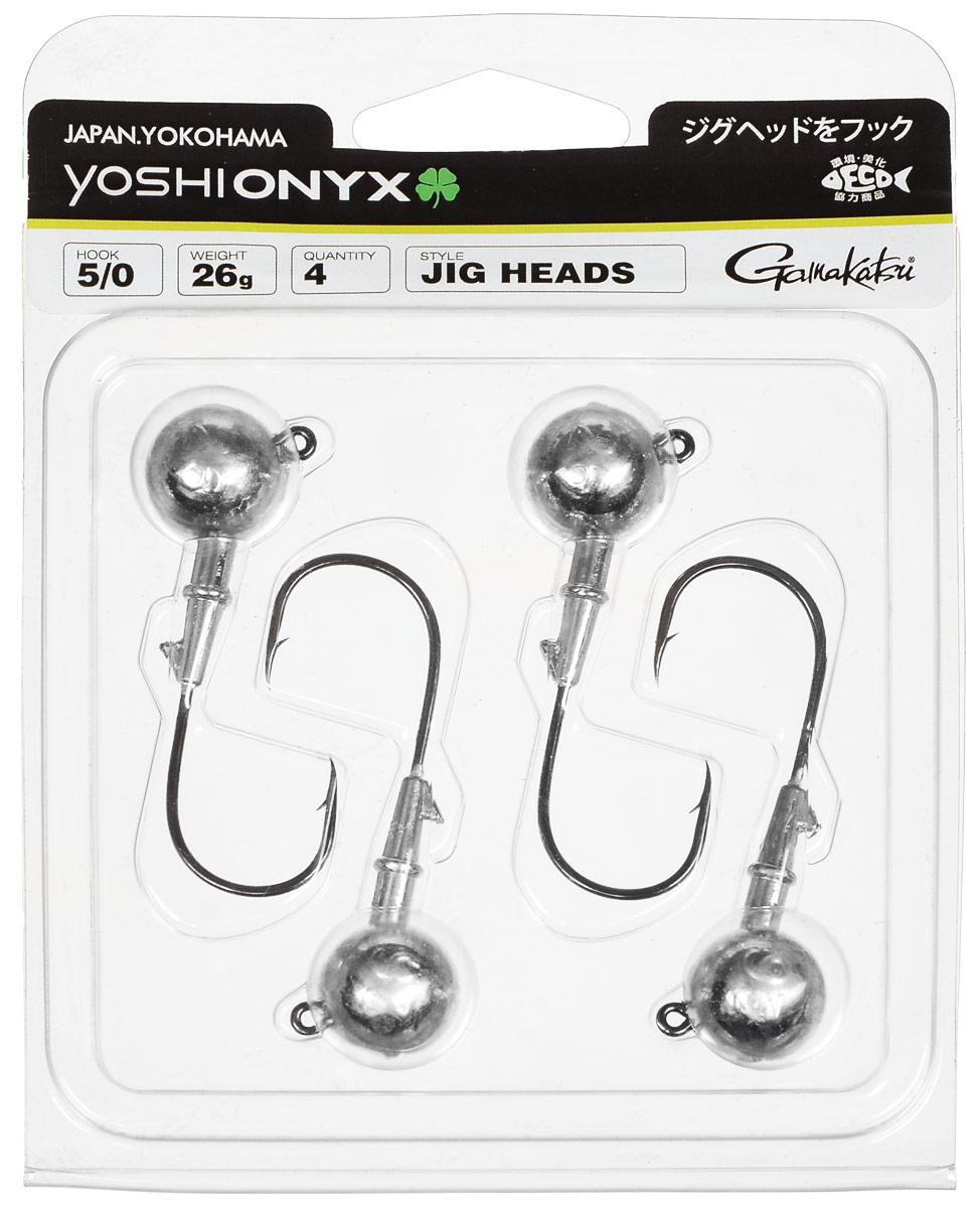 Джиг-головка Yoshi Onyx, крючок Gamakatsu 5/0, 26 г, 4 шт98016Джиг-головки Yoshi Onyx предназначены в первую очередь для донной спиннинговой ловли - джиг спиннинга. Джиг головками оснащаются всевозможные мягкие приманки: виброхвосты, твистеры, силиконовые рачки и черви. Возможно их применение и с естественными насадками, к примеру, при ловле судака бортовой удочкой на мертвую рыбку или кусочки рыбы. Джиг-головка оснащена крючком Gamakatsu. Такой крючок прекрасно пробивает жесткую пасть крупного судака, щуки и сома.Вес: 26 г.Количество: 4 шт.Крючок: Gamakatsu 5/0.