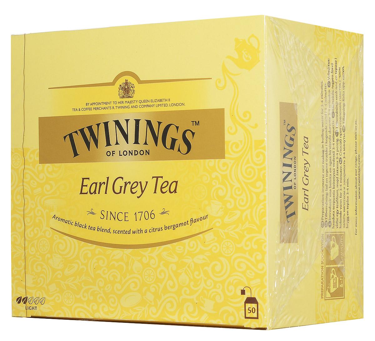Twinings Earl Grey чай черный в пакетиках, 50 шт0120710Черный чай Twinings Earl Grey является неотъемлемой частью традиционного английского чаепития.Насыщенный черный чай, ароматизированный натуральным маслом из кожуры бергамота, дает яркий настой со сладким ароматом и цитрусовым привкусом.