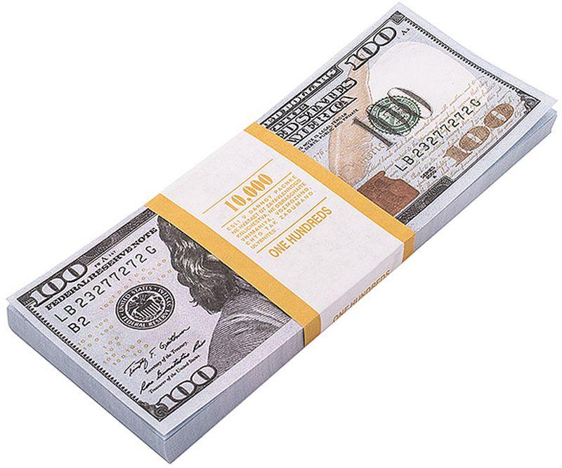 Забавная Пачка денег 100 долларов89449Эта забавная пачка с купюрами-дублерами достоинством в 100 долларов не поможет вам купить автомобиль или доплатить недостающую часть денег при покупке квартиры, но непременно позволит разыграть приятелей или, молниеносно махнув веером купюр, поразить всех своей состоятельностью. Пачка купюр перетянута бумажной лентой и в целом выглядит очень солидно. Только не перепутайте с настоящими! Характеристики:Размер купюры: 14,6 см х 6,2 см. Материал: бумага. Производитель: Россия. Артикул: 89447. Внимание! Уважаемые клиенты, обращаем ваше внимание, что количество купюр в пачке строго не нормировано - пачка денег рассчитана на развлекательную функцию.