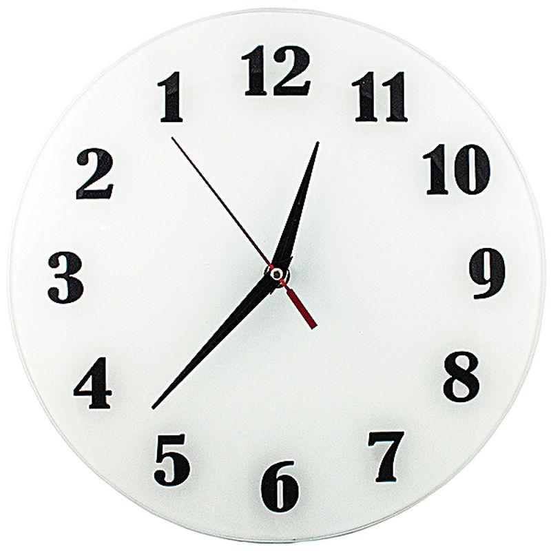 Часы настенные Эврика АнтиЧасы. Классика белая, стеклянные, цвет: белый, диаметр 28 см часы эврика античасы классика белая стеклянные