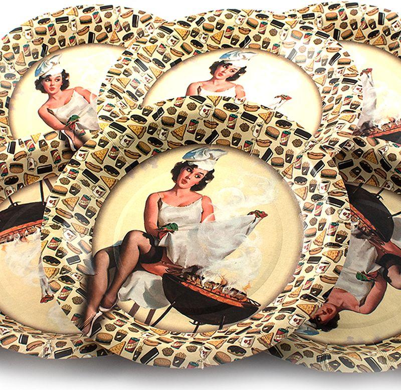 Набор тарелок Эврика Девушка с мангалом, 6 шт115510Набор картонных тарелочек с красочным рисунком. Количество тарелочек в наборе 6 шт, диаметр тарелочки 19 см, глубина 2.5см.