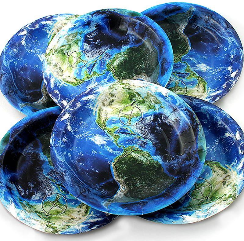 Набор тарелок Эврика Земля, 6 штVT-1520(SR)Набор картонных тарелочек с красочным рисунком. Количество тарелочек в наборе 6 шт, диаметр тарелочки 19 см, глубина 2.5см.