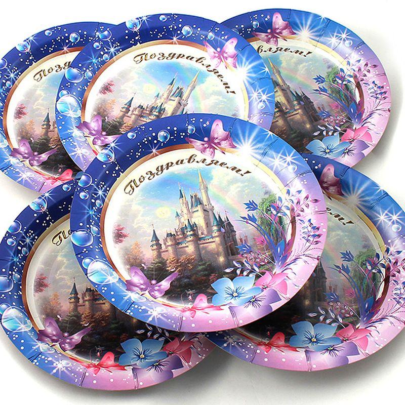 Набор тарелок Эврика Поздравляем, 6 штFS-91909Набор картонных тарелочек с красочным рисунком. Количество тарелочек в наборе 6 шт, диаметр тарелочки 19 см, глубина 2.5см.