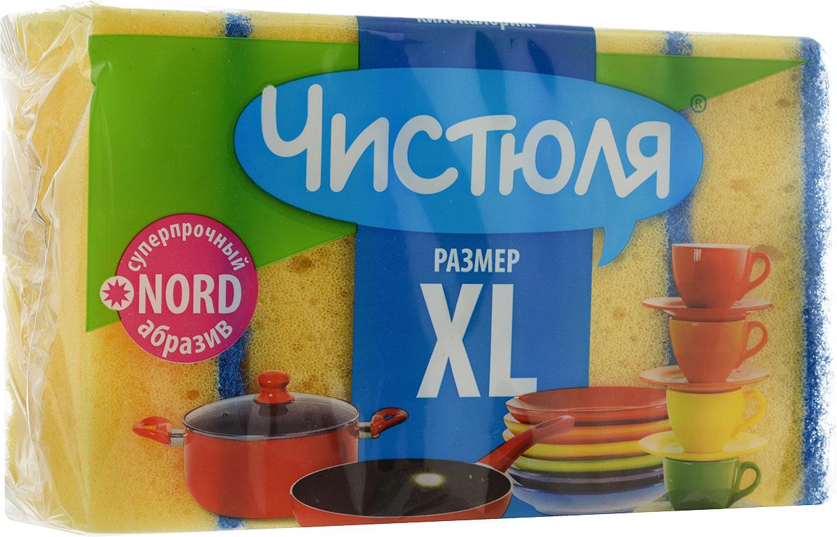 """Набор губок для мытья посуды Чистюля """"XL"""", цвет: желтый, синий, 5 шт"""