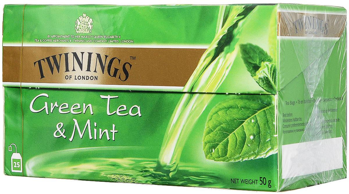 Twinings Mint зеленый чай в пакетиках, 25 шт0120710Чай Twinings - это истинно английский напиток премиум-класса, который выпускается одним из лидеров международного рынка чая.Компания была основана в 1706 Томасом Твайнингом, который открыл свой частный чайный салон в Лондоне, на улице Стрэнд.