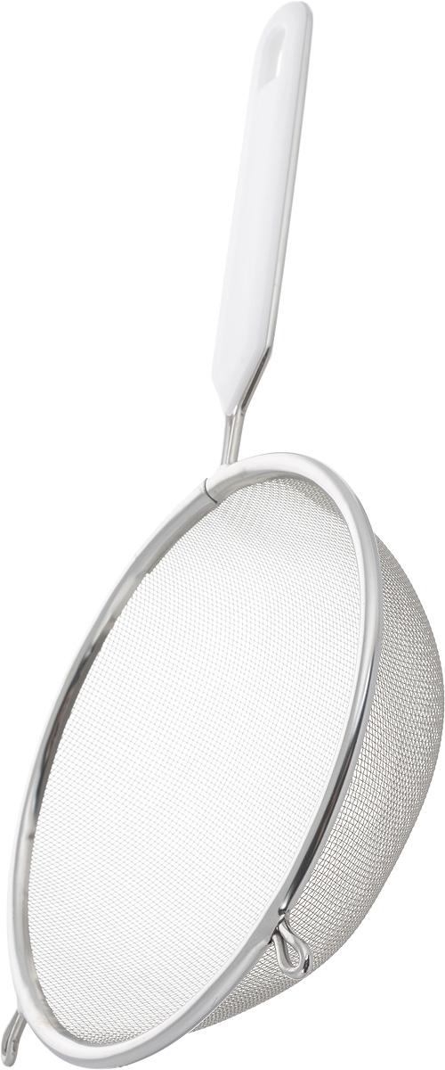 Ситечко Axentia, цвет: белый, стальной, диаметр 16 см200743_белый, стальнойСитечко Axentia, выполненное из нержавеющей стали, станет незаменимым аксессуаром на вашей кухне. Оно предназначено для просеивания и процеживания. Удобная ручка с пластиковой вставкой не позволит выскользнуть изделию из вашей руки. Ручка имеет отверстие, с помощью которого изделие можно подвесить в удобном для вас месте.Такое ситечко станет достойным дополнением к кухонному инвентарю.Диаметр ситечка по верхнему краю: 16 см.Глубина ситечка: 5 см.Длина ручки: 15 см.