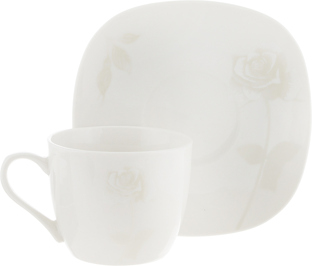 Чайная пара Жемчужная роза, цвет: молочный, 2 предмета300034Чайная пара Жемчужная роза состоит из чашки и блюдца, изготовленных из высококачественной керамики. Красочность оформления придется по вкусу ценителям утонченности и изысканности. Диаметр чашки по верхнему краю:8 см. Высота чашки: 7 см. Объем чашки: 220 мл. Размер блюдца: 15 см х 15 см.
