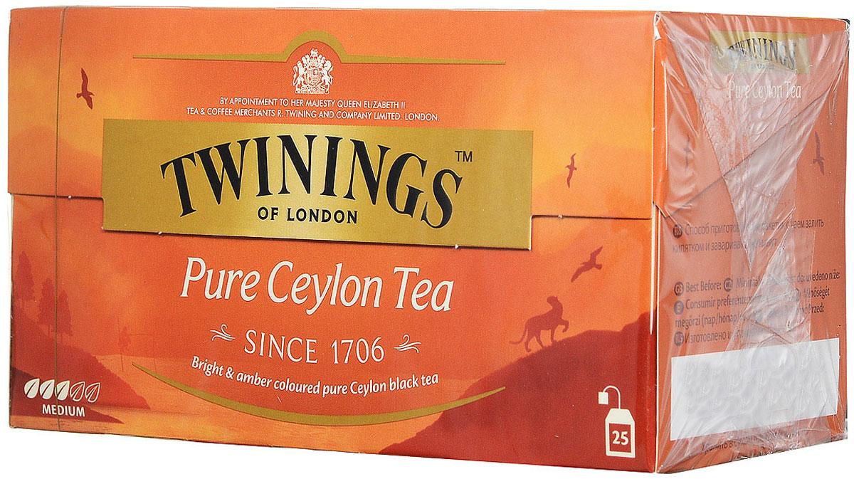Twinings Pure Ceylon чай черный в пакетиках, 25 шт0120710Цейлонский чай Twinings Pure Ceylon с ярким янтарным цветом и утонченным вкусом.Начните день с чашки душистого напитка и ощутите прилив сил и хорошего настроения.