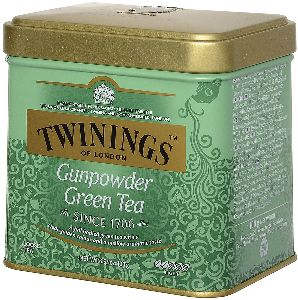 Twinings Gunpowder чай зеленый листовой, 100 г101246Twinings Gunpowder - крупнолистовой зеленый чай, скрученный в форме пороха, имеет вид мелкой дроби или картечи. При заваривании получается душистый прозрачный напиток светло-золотистого цвета с мягким бархатистым вкусом.
