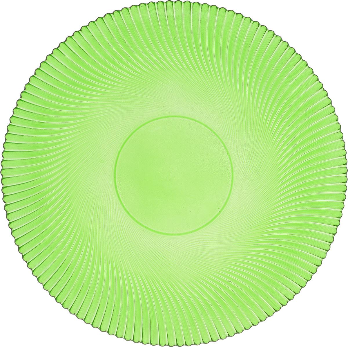 Тарелка NiNaGlass Альтера, цвет: зеленый, диаметр 26 см115510Тарелка NiNaGlass Альтера выполнена из высококачественного стекла и оформлена красивым рельефным узором. Тарелка идеальна для подачи вторых блюд, а также сервировки закусок, нарезок, десертов и многого другого. Она отлично подойдет как для повседневных, так и для торжественных случаев.Такая тарелка прекрасно впишется в интерьер вашей кухни и станет достойным дополнением к кухонному инвентарю.