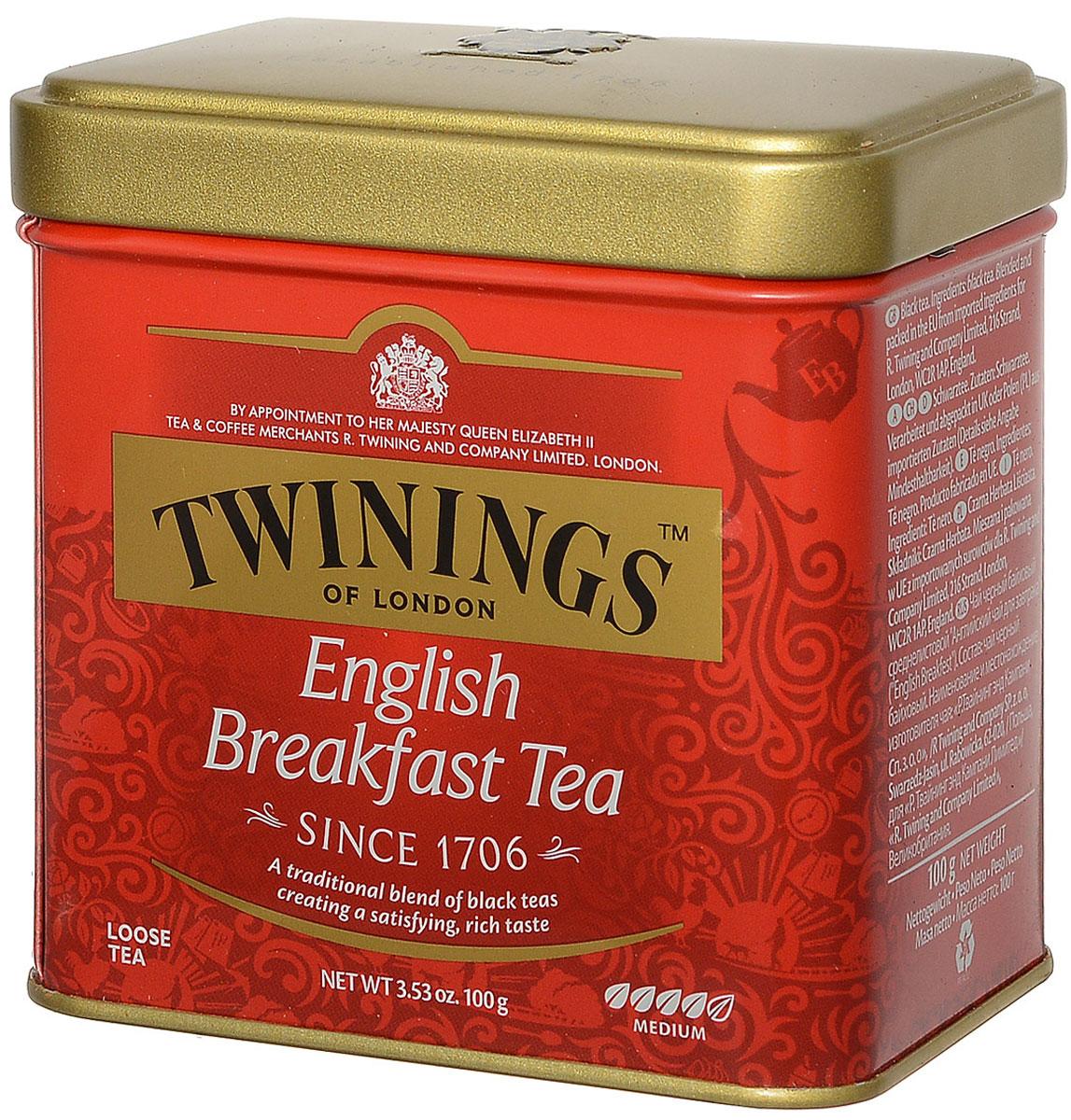 Twinings English Breakfast чай черный, 100 г101246Twinings English Breakfast - крепкий освежающий черный чай среднелистовой. Breakfast - бодрящий напиток с насыщенным вкусом и цветом. Идеально подходит для тех, кому трудно просыпаться по утрам. Он хорошо сочетается с молоком или лимоном.