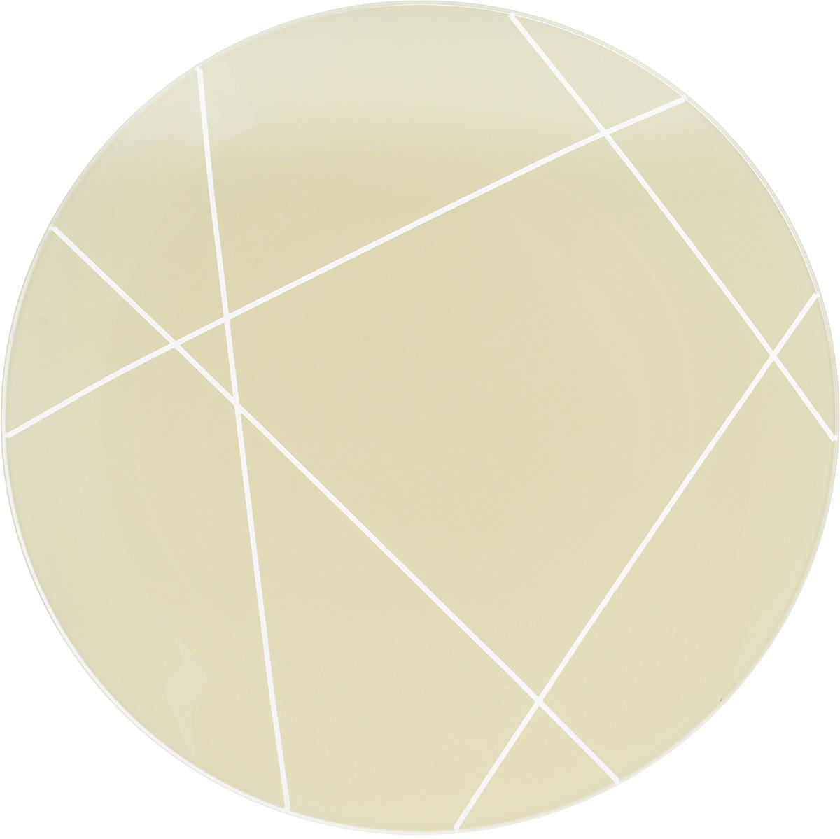 Тарелка NiNaGlass Контур, цвет: светло-бежевый, диаметр 30 см115610Тарелка NiNaGlass Виктория выполнена из высококачественного стекла и оформлена красивым прозрачным геометрическим принтом. Тарелка идеальна для подачи вторых блюд, а также сервировки закусок, нарезок, салатов, овощей и фруктов. Она отлично подойдет как для повседневных, так и для торжественных случаев.Такая тарелка прекрасно впишется в интерьер вашей кухни и станет достойным дополнением к кухонному инвентарю.