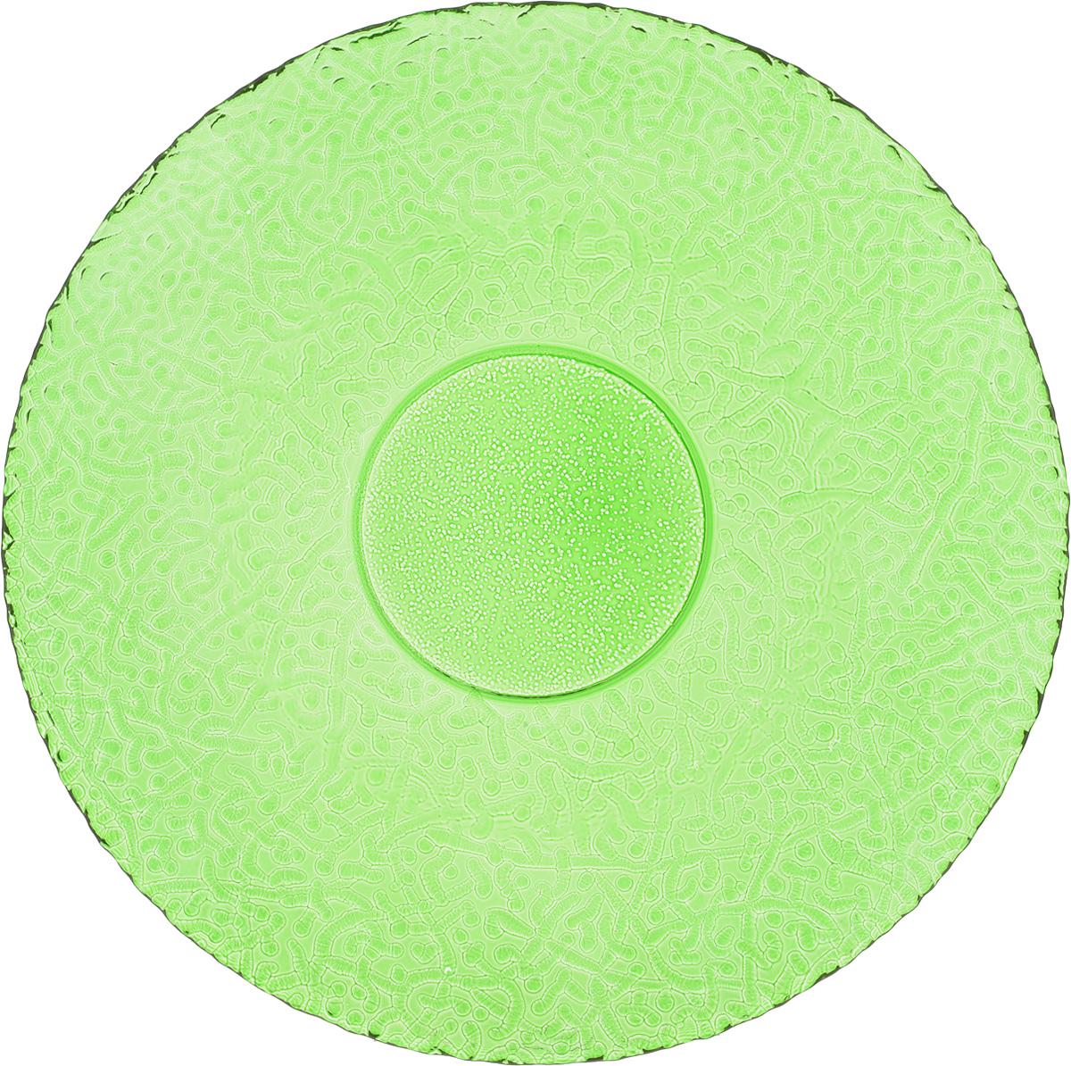 Тарелка NiNaGlass Ажур, цвет: зеленый, диаметр 26 см115510Тарелка NiNaGlass Ажур выполнена из высококачественного стекла и имеет рельефную внешнюю поверхность. Она прекрасно впишется в интерьер вашей кухни и станет достойным дополнением к кухонному инвентарю. Тарелка NiNaGlass Ажур подчеркнет прекрасный вкус хозяйки и станет отличным подарком.Диаметр тарелки: 26 см.Высота: 3 см.