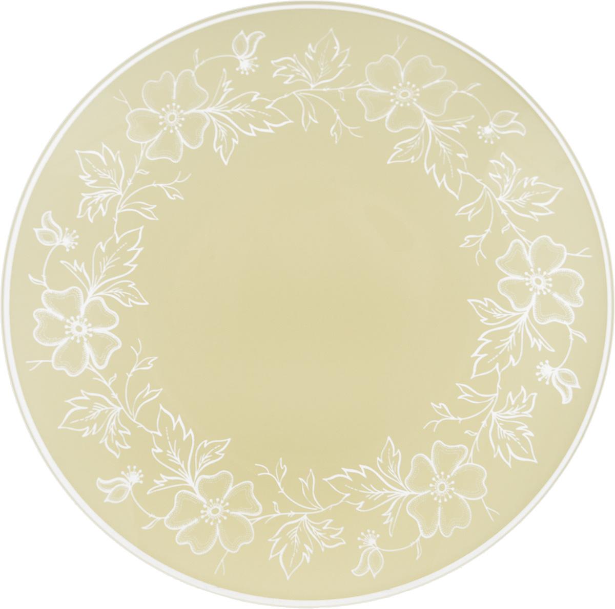 Тарелка NiNaGlass Лара, цвет: светло-бежевый, диаметр 20 см54 009312Тарелка NiNaGlass Лара выполнена из высококачественного стекла и оформлена красивым цветочным узором. Тарелка идеальна для подачи вторых блюд, а также сервировки закусок, нарезок, салатов, овощей и фруктов. Она отлично подойдет как для повседневных, так и для торжественных случаев.Такая тарелка прекрасно впишется в интерьер вашей кухни и станет достойным дополнением к кухонному инвентарю.