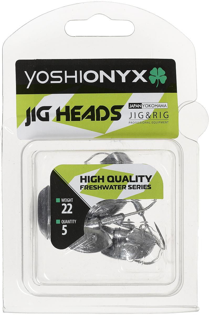 Джиг-головка Yoshi Onyx JIG Bros. Каблучок, крючок Gamakatsu, 22 г, 5 шт96517Джиг-головки Yoshi Onyx JIG Bros. Каблучок используются для огрузки спиннинговых приманок. Специально предназначены для ловли щуки на мягкие приманки на небольшой глубине рядом с водной растительностью. Благодаря особой форме, увеличивается маневренность и управляемость. Джиг-головки оснащены крючком Gamakatsu.