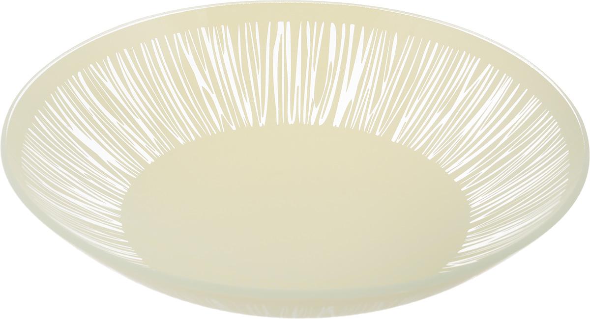 Тарелка глубокая NiNaGlass Витас, цвет: светло-бежевый, диаметр 22 см54 009312Тарелка NiNaGlass Витас выполнена из высококачественного стекла и оформлена цветочным узором. Она прекрасно впишется в интерьер вашей кухни и станет достойным дополнениемк кухонному инвентарю. Тарелка NiNaGlass Витас подчеркнет прекрасный вкус хозяйки и станет отличным подарком.Диаметр тарелки: 22 см.Высота: 5 см.