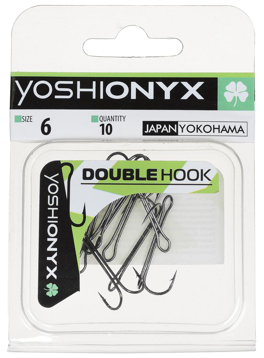 Крючок двойной Yoshi Onyx Double Hook, №6, 10 шт. BN87190Двойные крючки Yoshi Onyx Double Hook с нормальной длиной цевья достаточно универсальные и могут использоваться в самых разнообразных видах рыбной ловли. Острая лазерная заточка и сверхпрочная закаленная сталь предотвратит разгибание или обламывание крючка и сход рыбы.