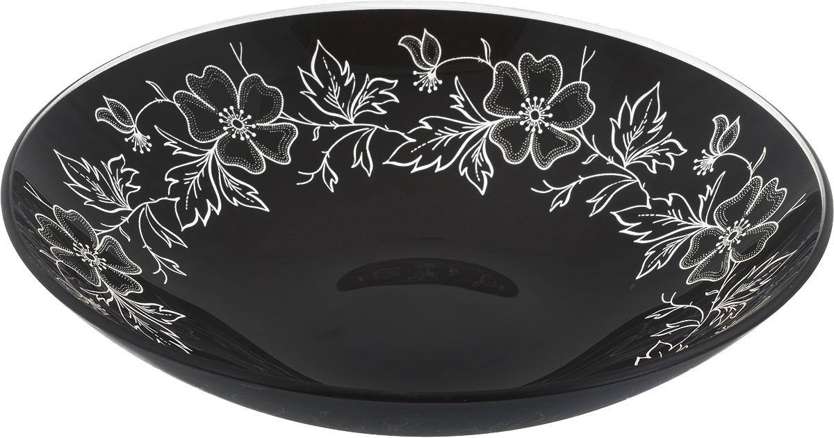 Тарелка глубокая NiNaGlass Лара, цвет: черный, диаметр 22 см54 009312Тарелка NiNaGlass Лара выполнена из высококачественного стекла и оформлена цветочным узором. Она прекрасно впишется в интерьер вашей кухни и станет достойным дополнениемк кухонному инвентарю. Тарелка NiNaGlass Лара подчеркнет прекрасный вкус хозяйки и станет отличным подарком.Диаметр тарелки: 22 см.Высота: 5 см.