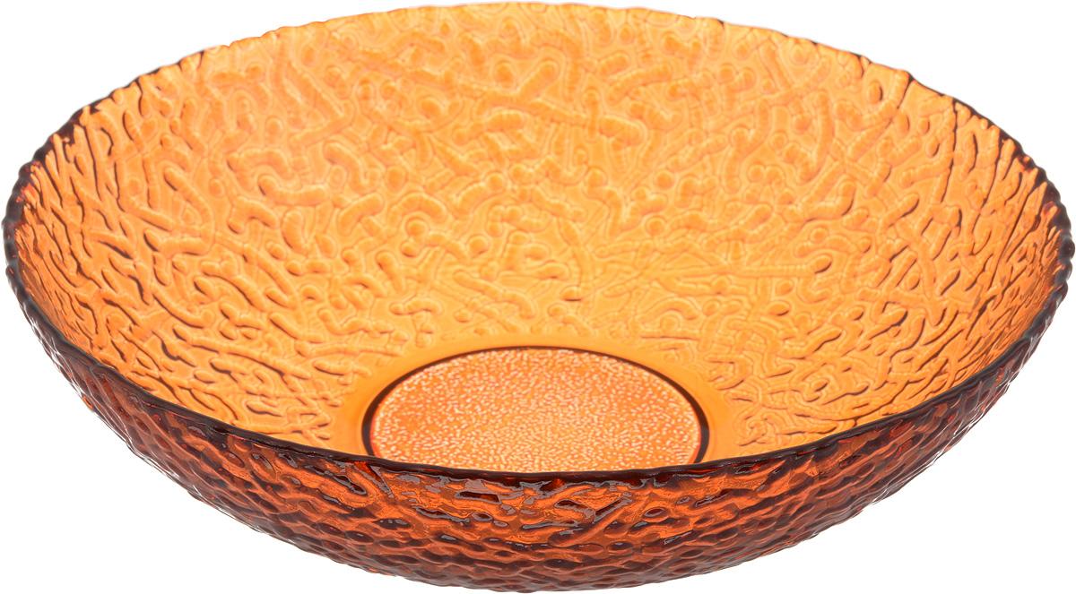 Тарелка NiNaGlass Ажур, цвет: оранжевый, диаметр 20 см54 009312Тарелка NiNaGlass Ажур выполнена из высококачественного стекла и имеет рельефную внешнюю поверхность. Она прекрасно впишется в интерьер вашей кухни и станет достойным дополнением к кухонному инвентарю. Тарелка NiNaGlass Ажур подчеркнет прекрасный вкус хозяйки и станет отличным подарком.Диаметр тарелки: 20 см.Высота: 5 см.