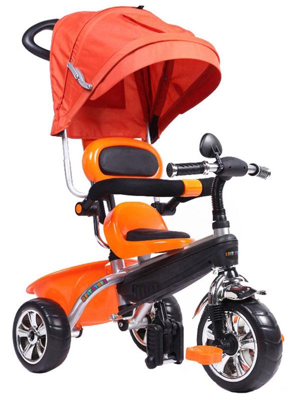 """Трехколесный велосипед """"Pit Stop"""" - это яркое и удобное транспортное средство для детей. У изделия три крупных колеса, обеспечивающих плавность хода велосипеда, а также тент, защищающий ребенка от солнца или непогоды. Сзади имеется вместительная корзина, в которой ребенок сможет разместить нужные вещи или игрушки, а родители - продукты или предметы ухода за малышом.Управление транспортным средством осуществляется либо посредством педалей, либо при помощи родительской ручки. Удобные спинка и сиденье велосипеда обеспечат ребенку комфортную поездку."""