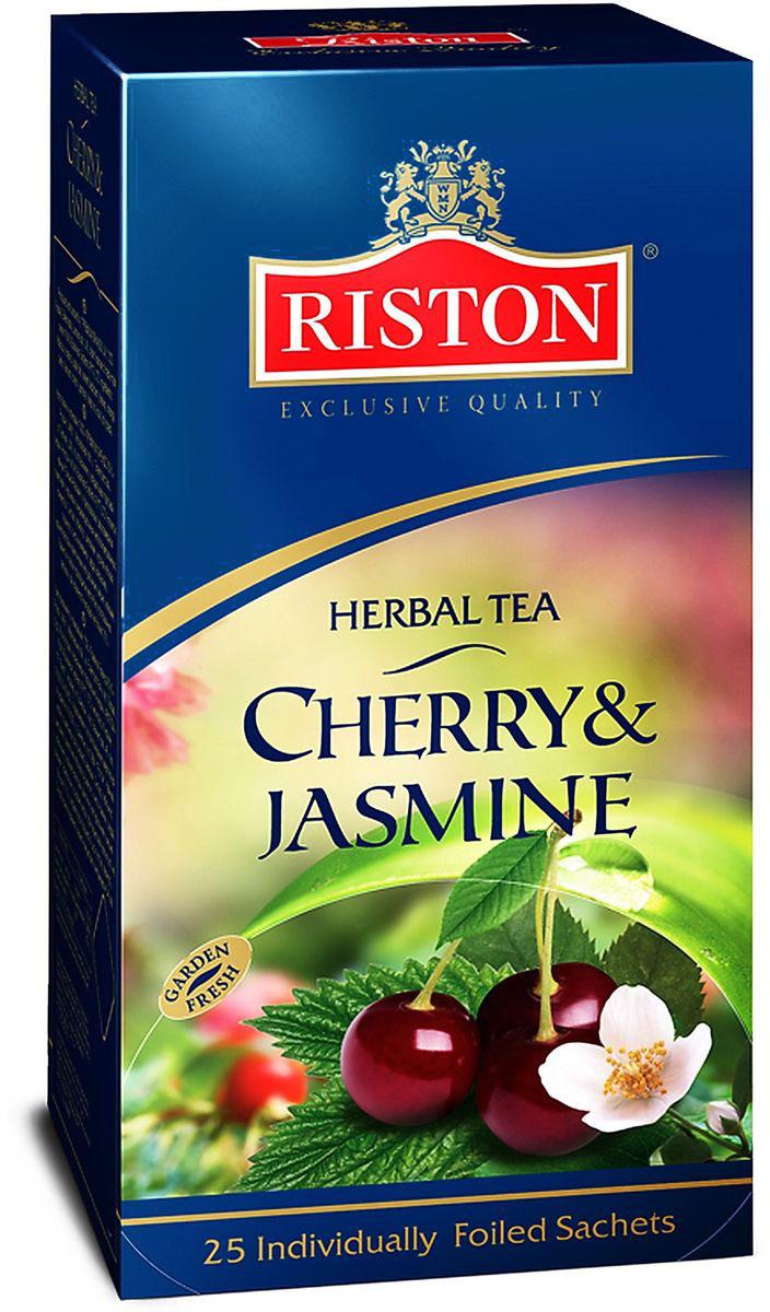 Riston Вишня-жасмин чай травяной в пакетиках, 25 шт1070122Насыщенный вишневый настой теплого рубинового цвета с плотным, мягким вкусом и густым обволакивающим ароматом, дополненным тонкими элегантными нотками жасмина.