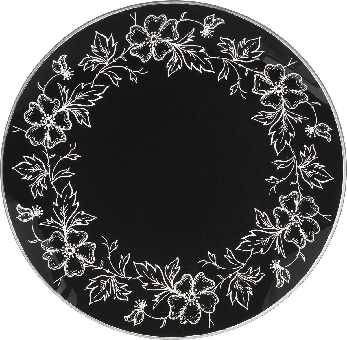 Тарелка NiNaGlass Лара, цвет: черный, диаметр 20 см115610Тарелка NiNaGlass Лара выполнена из высококачественного стекла и оформлена красивым цветочным узором. Тарелка идеальна для подачи вторых блюд, а также сервировки закусок, нарезок, салатов, овощей и фруктов. Она отлично подойдет как для повседневных, так и для торжественных случаев.Такая тарелка прекрасно впишется в интерьер вашей кухни и станет достойным дополнением к кухонному инвентарю.
