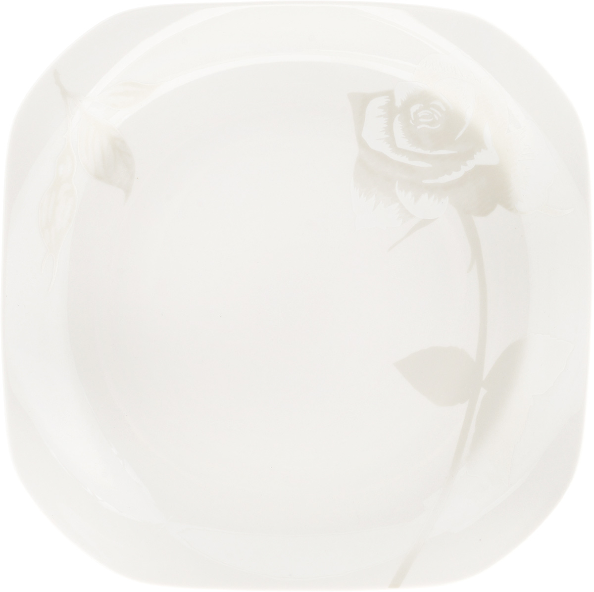 Тарелка подстановочная Жемчужная роза, 23,5 x 23,5 см115510Тарелка Жемчужная роза изготовлена из глазурованного фарфора. Подстановочнаятарелка - это особый вид тарелок. Обычно она выполняет исключительнодекоративную функцию.Такая тарелка изысканно украсит сервировку как обеденного, так и праздничногостола. Размер тарелки: 23,5 x 23,5 см.