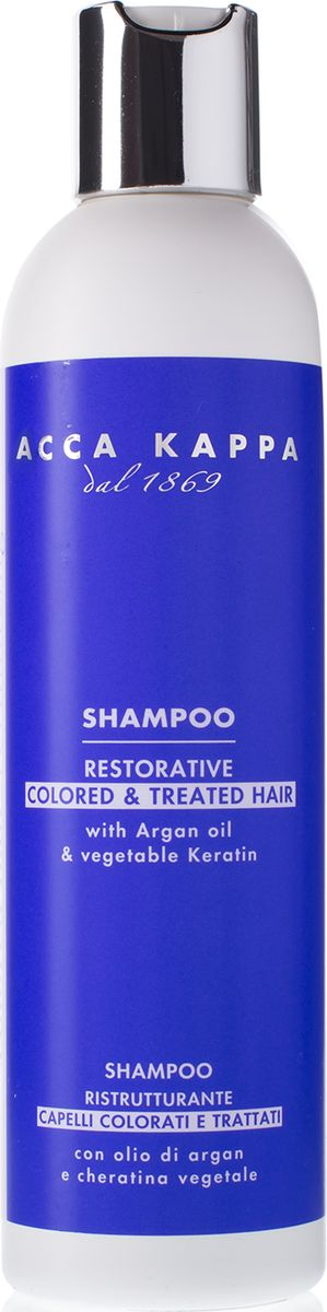 ACCA KAPPPA Восстанавливающий шампунь для окрашенных и поврежденных волос Голубая лаванда 250 млFS-00897Восстанавливающий шампунь с аргановым маслом и растительным кератином. Идеально подходит для обработанных и окрашенных волос, сохраняет структуру волос, восстанавливая яркость и цвет .