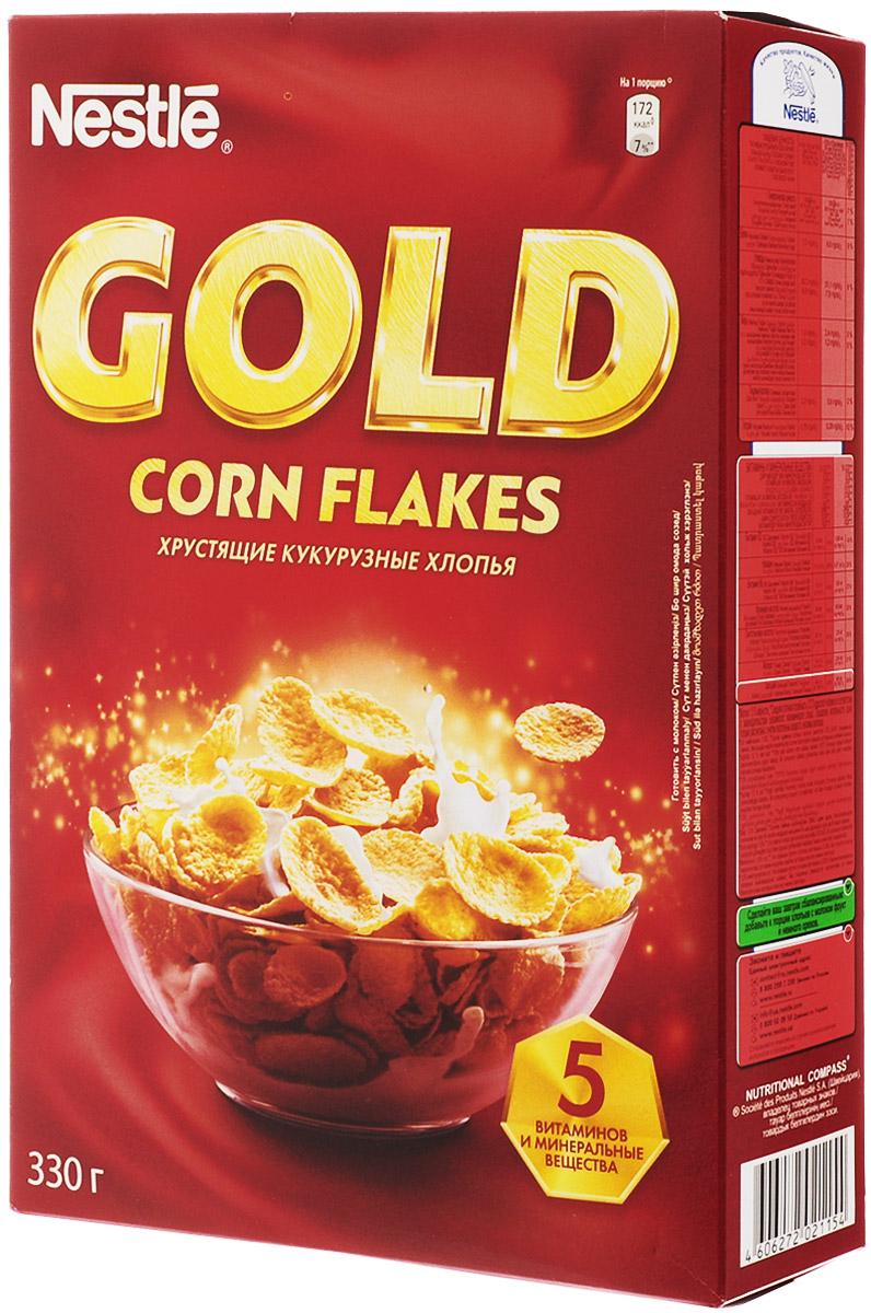 Nestle Gold Corn Flakes готовый завтрак, 330 г0120710Готовый завтрак Nestle Gold Corn Flakes - это отличный завтрак для всей семьи. Хрустящие кукурузные хлопья дополнительно обогащены комплексом витаминов. Каждая порция готового завтрака более чем на 15% удовлетворяет рекомендуемую суточную потребность в витаминах B2, B3 (ниацине), B5 (пантотеновой кислоте), B6 и B9 (фолиевой кислоте). Вы любите начинать утро с полезного, качественного и вкусного завтрака? Вы привыкли выбирать для себя только самое лучшее? Тогда кукурузные хлопья Gold Corn Flakes - для вас! Хлопья рекомендуется употреблять с молоком, кефиром, йогуртом или соком.Уважаемые клиенты! Обращаем ваше внимание на то, что упаковка может иметь несколько видов дизайна. Поставка осуществляется в зависимости от наличия на складе.