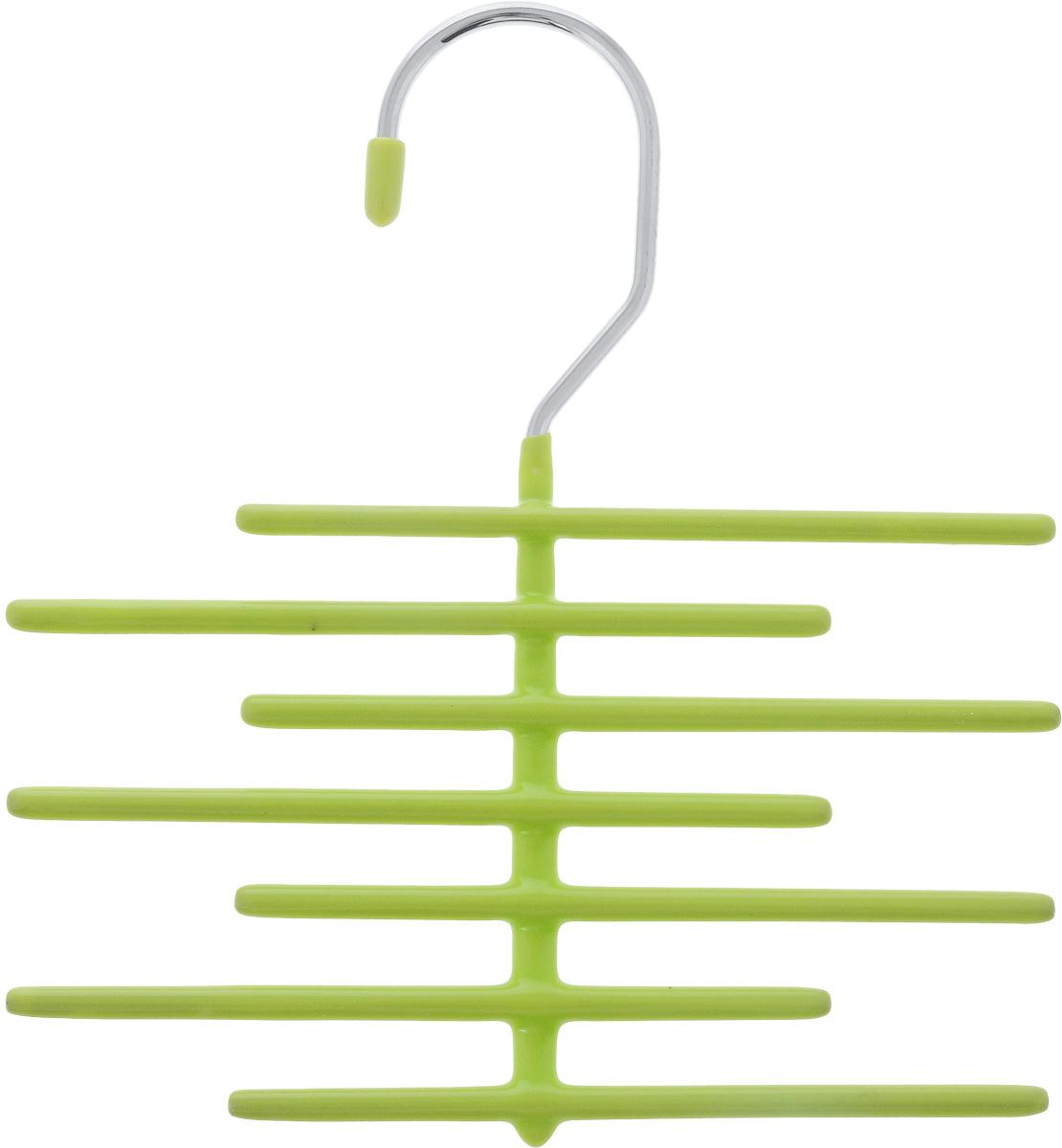 Вешалка для галстуков Attribute Home, цвет: салатовый, длина 18 см74-0060Вешалка для галстуков Attribute Home выполнена из качественной стали. Благодаря инновационному покрытию из ПВХ, вещи не соскальзывают с вешалки. Изделие содержит 7 перекладин для галстуков. Удобная вешалка Attribute Home позволит компактно и аккуратно хранить галстуки и другие аксессуары. Длина вешалки: 18 см.Длина перекладины: 14 см.