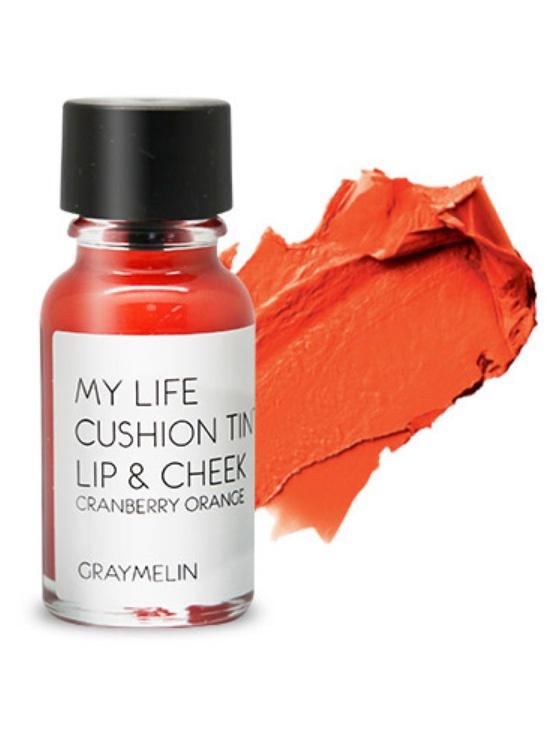 Graymelin, Тинт для губ и щек (cranberry orange), Cushion Tint Lip & Cheek,PMB 0805Легкий тинт для губ и скул с консистенцией эссенции от Graymelin, сохраняет цвет и сочность губ в течение длительного времени, придает румянец и здоровый цвет коже лица, активно увлажняет, питает и впитывается без растекания. Это декоративное и ухаживающее средство не оставляет на губах дискомфорта и жирного блеска, после нанесения не смазывается.