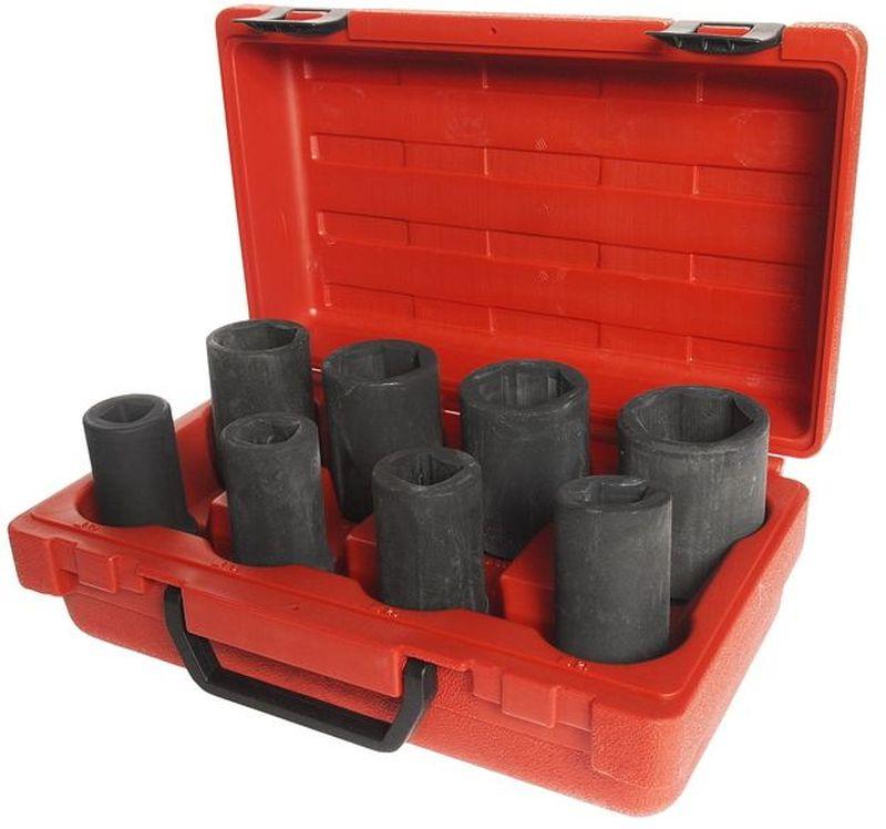"""Набор головок торцевых JTC, ступенчатые, для грузовых автомобилей, 8 предметов. JTC-J608BCA-3505Набор головок торцевых JTC специально предназначен для разборки/сборки ступиц грузовых автомобилей. Предметы набора изготовлены из хромованадиевой стали.В комплекте:3/4"""" Dr.х90 6РТ: 35, 36, 38, 41 мм.3/4"""" Dr.х90 4РТ: 17, 19, 20, 21 мм."""