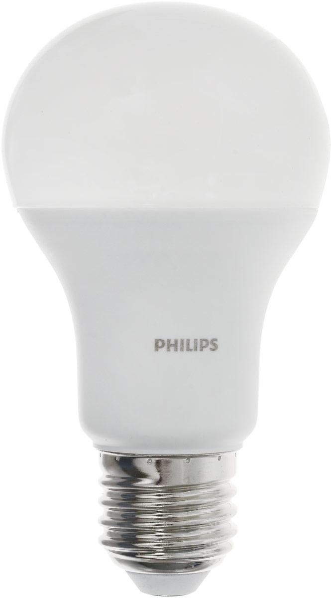 Лампа светодиодная Philips LED bulb, цоколь E27, 13W, 6500KC0038550Современные светодиодные лампы LED bulb экономичны, имеют долгий срок службы и мгновенно загораются, заполняя комнату светом. Лампа оригинальной формы и высокой яркости позволяет создать уютную и приятную обстановку в любой комнате вашего дома. Светодиодные лампы потребляют на 87% меньше электроэнергии, чем обычные лампы накаливания, излучая при этом привычный и приятный теплый свет. Срок службы светодиодной лампы LED bulb составляет до 15000 часов, что соответствует общему сроку службы пятнадцати ламп накаливания. Благодаря чему менять лампы приходится значительно реже, что сокращает количество отходов. Напряжение: 220-240 В. Световой поток: 1400 lm. Эквивалент мощности в ваттах: 100 Вт.