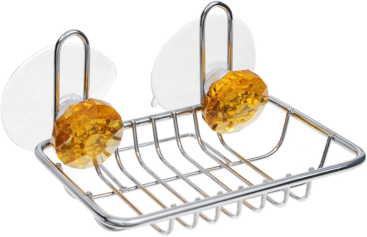Мыльница Top Star Kristall, подвесная, на присосках, цвет: желтый, стальной, 9,5 х 11,5 х 6,5 смCLP446Мыльница Top Star Kristall изготовлена из хромированной стали. Изделие крепится к стене при помощи двух присосок. Такая мыльница прекрасно подойдет для ванной комнаты или кухни.