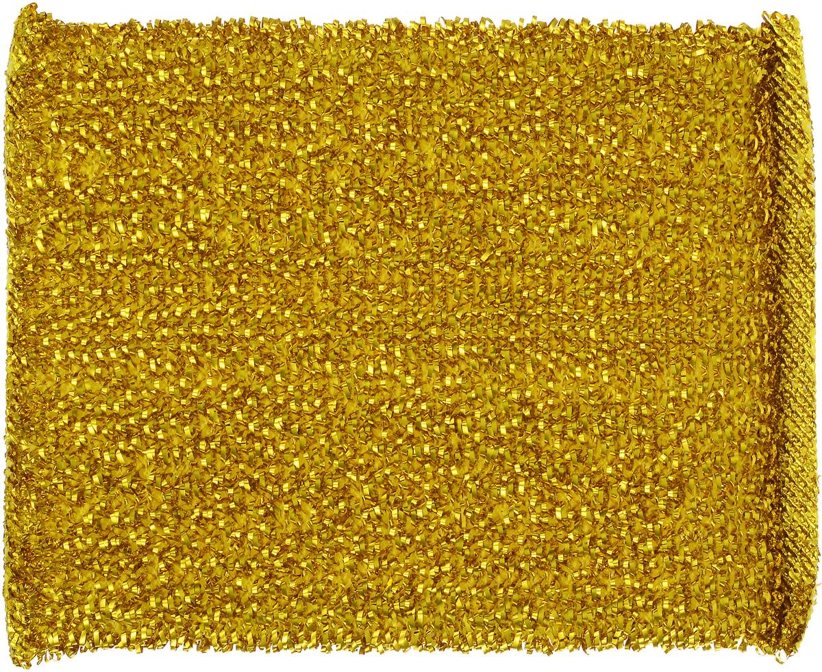 Губка для мытья посуды Home Queen, с металлизированной нитью, цвет: золотистый, 12 х 9 х 2 см787502Губка для мытья посуды Home Queen изготовлена из поролона в чехле из полипропиленовой металлизированной нити. Предназначена для мытья посуды и очистки сильно загрязненных кухонных поверхностей. Удобна в применении. Позволяет экономить моющее средство, благодаря структуре поролона, который дает много пены при использовании.