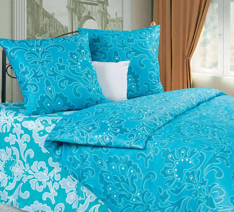 Комплект белья P&W Марианна, 1,5-спальный, наволочки 70х70, цвет: бирюзовый, голубой