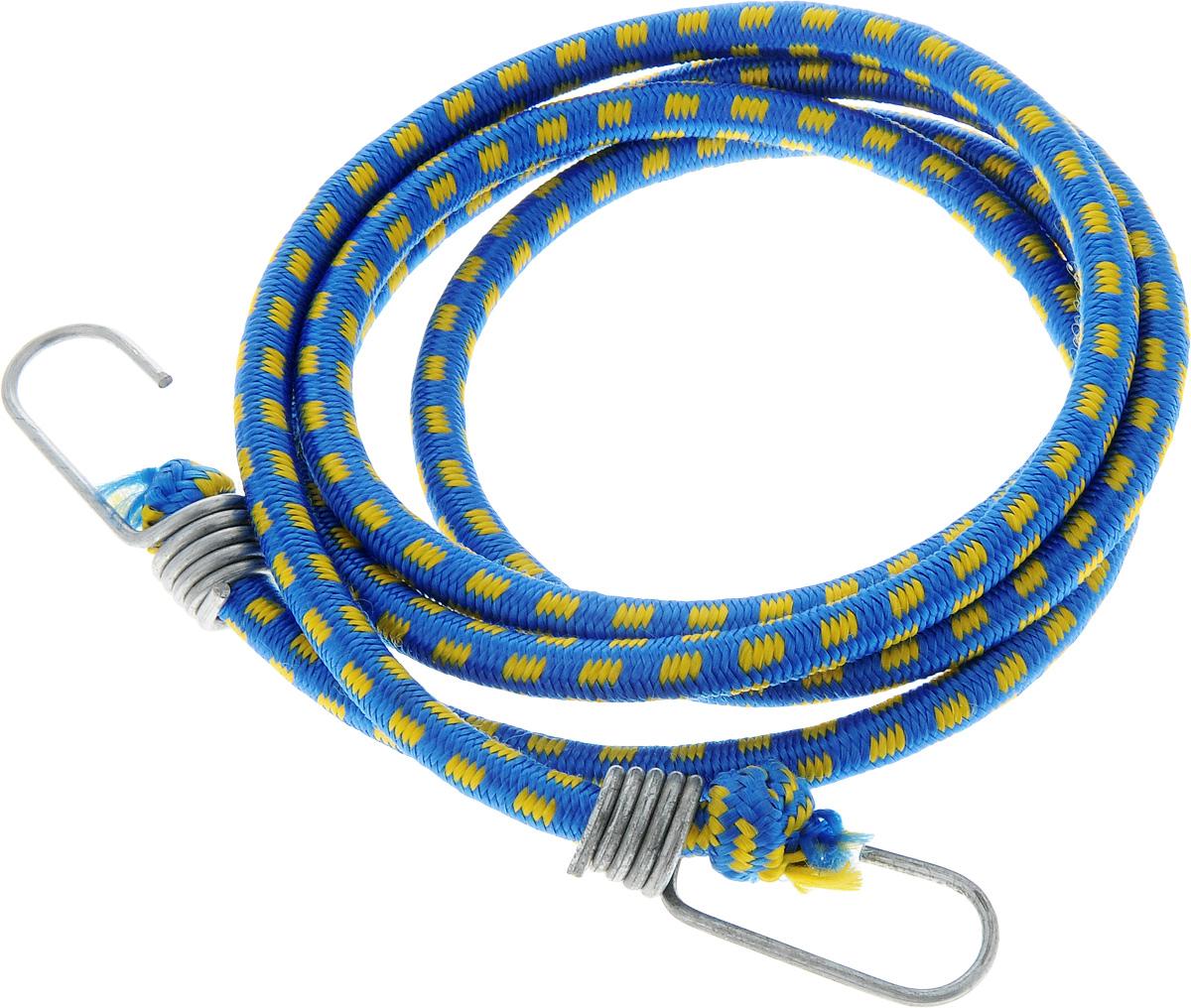 Резинка багажная МастерПроф, с крючками, цвет: синий, желтый, 1 х 190 смSATURN CANCARDБагажная резинка МастерПроф, выполненная из синтетического каучука, оснащена специальными металлическими крюками, которые обеспечивают прочное крепление и не допускают смещения груза во время его перевозки. Изделие применяется для закрепления предметов к багажнику. Такая резинка позволит зафиксировать как небольшой груз, так и довольно габаритный.Температура использования: -15°C до +50°C.Безопасное удлинение: 60%.Толщина резинки: 1 см.Длина резинки: 190 см.