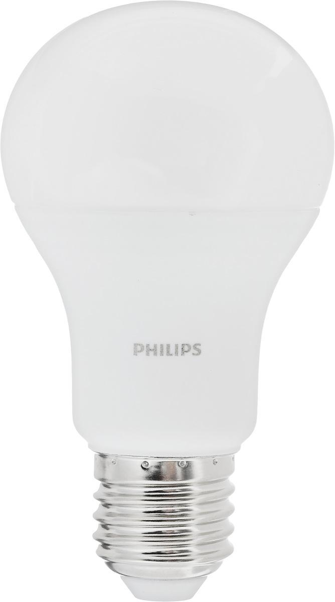 Лампа светодиодная Philips LED bulb, цоколь E27, 10,5W, 6500KЛампа LEDBulb 10.5-85WE276500K230VA60/PFСовременные светодиодные лампы LED bulb экономичны, имеют долгий срок службы и мгновенно загораются, заполняя комнату светом. Лампа оригинальной формы и высокой яркости позволяет создать уютную и приятную обстановку в любой комнате вашего дома. Светодиодные лампы потребляют на 87% меньше электроэнергии, чем обычные лампы накаливания, излучая при этом привычный и приятный теплый свет. Срок службы светодиодной лампы LED bulb составляет до 15000 часов, что соответствует общему сроку службы пятнадцати ламп накаливания. Благодаря чему менять лампы приходится значительно реже, что сокращает количество отходов. Напряжение: 220-240 В. Световой поток: 1055 lm. Эквивалент мощности в ваттах: 85 Вт.