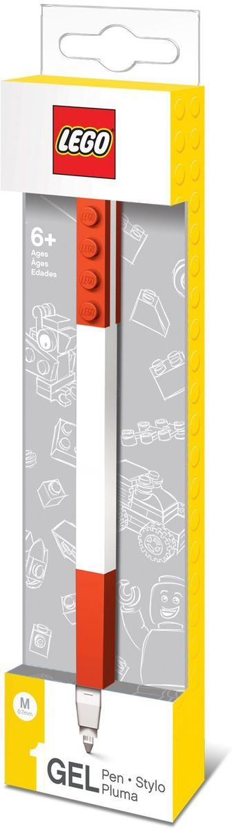Гелевая ручка из уникальной коллекции канцелярских принадлежностей Lego с чернилами красного цвета.Ручка имеет пластиковый корпус с резиновой манжеткой, которая снижает напряжение руки. Ручка обеспечивает легкое и мягкое письмо, чернила быстро высыхают, не размазываются. Корпус ручки дополнен классической деталью конструктора Lego, что позволяет соединять ее с другими ручками и удобно хранить.