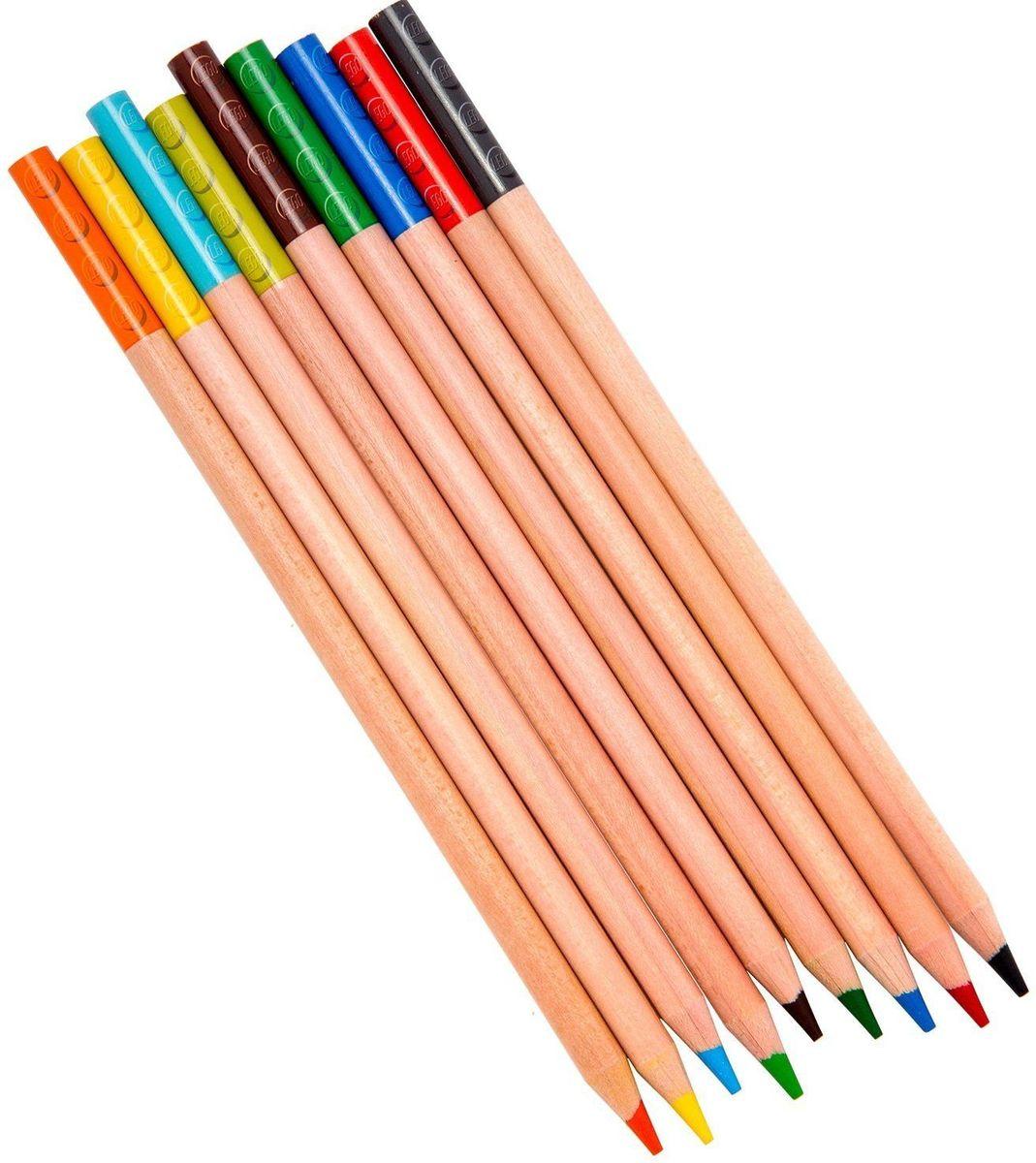 LEGO Набор цветных карандашей с насадками 9 шт 5151551515Набор состоит из девяти цветных карандашей с твердо-мягким грифелем и двух насадок (топперов) в форме кирпичика LEGO.
