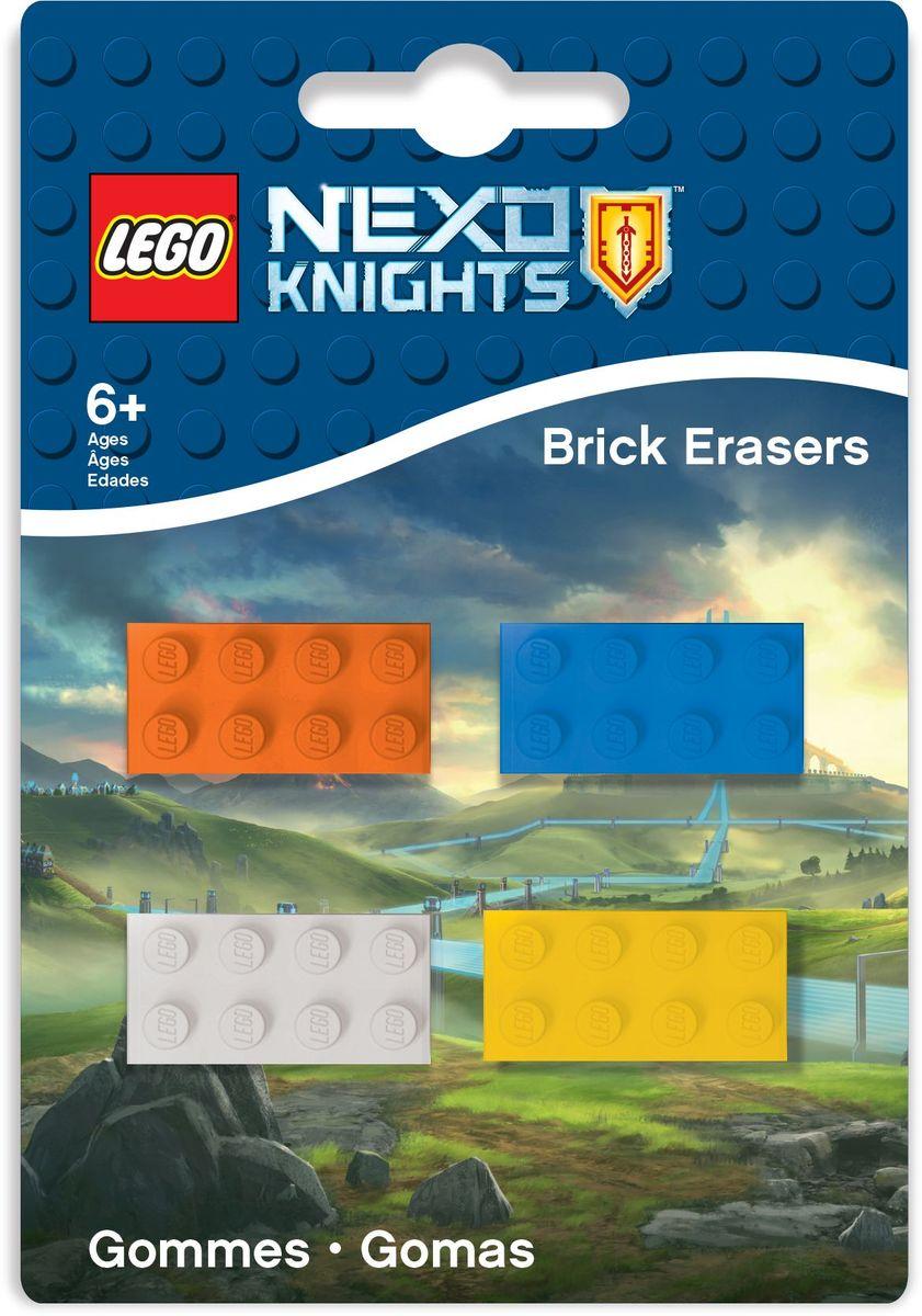 LEGO Nexo Knights Ластик 4 шт 5156072523WDЛастик LEGO Nexo Knights подходит для стирания графитовых рисунков и надписей, не оставляет разводов, не царапает поверхность.Набор состоит из 4 ластиков, выполненных в форме классического кирпичика LEGO.