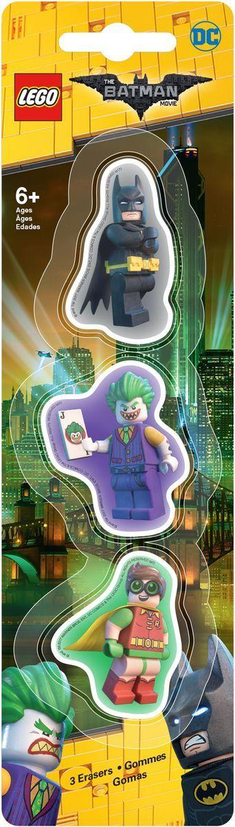 LEGO Batman Movie Ластик 3 шт 51760FS-36054Ластик LEGO Batman Movie подходит для стирания графитовых рисунков и надписей, не оставляет разводов, не царапает поверхность.Такие ластики станут оригинальным подарком для всех поклонников LEGO!В наборе 3 фигурных ластика.