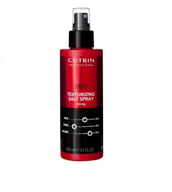 Cutrin Текстурирующий спрей с морской солью сильной фиксации Chooz Texturizing Salt Spray, 150 мл12692Идеальное средство для текстурных объемных укладок. Придает матовый эффект. Комбинация ухаживающих ингредиентов защищает и укрепляет волосы. При выполнении укладки при помощи диффузора позволяет создавать образ легкой пляжной небрежности.