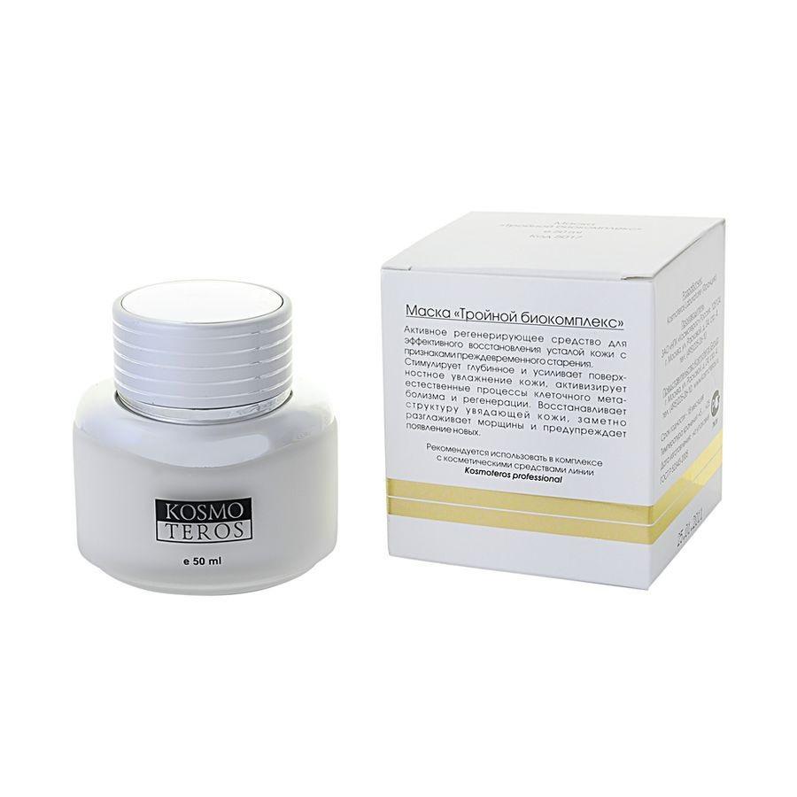 Kosmoteros Маска Тройной биокомплекс Masque Triple Action Complexe Bio - 50 мл1672Обеспечивающая ярко выраженный увлажняющий эффект маска с легкой текстурой создает необходимые условия для протекания метаболических процессов в клетках кожи и обеспечивает пролонгированный эффект, выполняет структурообразующую функцию, повышая тонус, эластичность и упругость кожи, разглаживает мелкие морщинки и предупреждает появление новых. Основные активные компоненты: Hyasealon 1, 5%, Proteasyl 6, 0%. Показания к применению: для всех типов кожи.