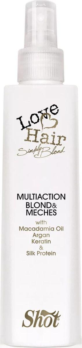 Shot Love Hair - Многоцелевой элексир для волос осветленных и мелированных волос 250 млFS-00897Это невероятный, поистине эксклюзивный несмываемый продукт для ухода за осветлёнными волосами. Благодаря маслу макадамии, маслу арганы, кератину и протеинам шёлка питает и увлажняет, восстанавливает, предотвращает ломкость и сечение осветлённых волос. Делает волосы послушными и защищает от негативного воздействия высоких температур фена, утюжка.