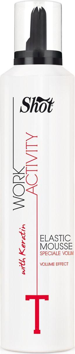 Shot Work Activity Elastic Mousse - Эластичный мусс для придания объема 300 млMP59.4DЭластичный мусс, благодаря кератину, входящему в его состав, идеально подходит для укладки тонких волос. Восстанавливает структуру,придает объем, делает волосы более эластичными. Мусс разработан для подчеркивания вьющихся волос.